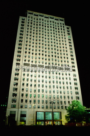 multi storied building at night
