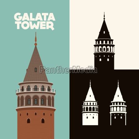 vector illustration and silhouette drawing galata