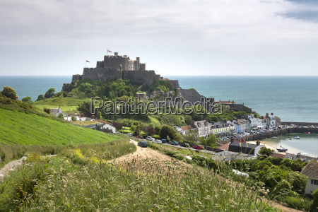 gorey with mont orgueil castle jersey