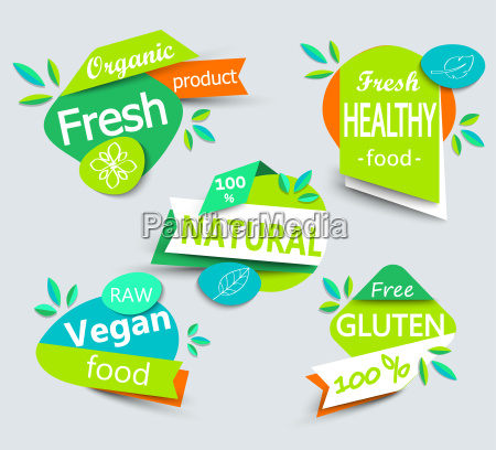 nowoczesny wektor zestaw zdrowych ekologicznych etykiet