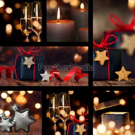 kolaz dekoracji stolu bozego narodzenia
