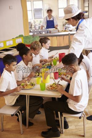 dzieci w szkole podstawowej jedza lunch