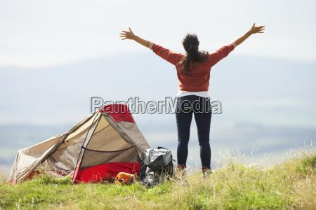 teenage, girl, on, camping, trip, in - 19407666
