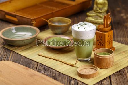 zielona, herbata, matcha, latte - 19413138