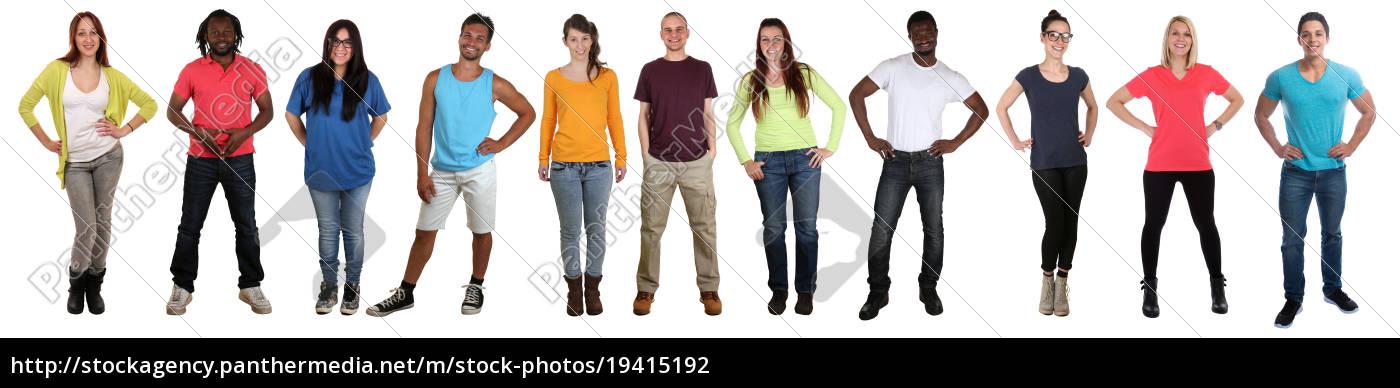 młodzi, ludzie, grupują, śmiać, całe, ciało - 19415192