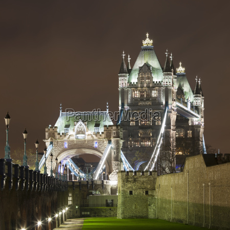 view of tower bridge at night