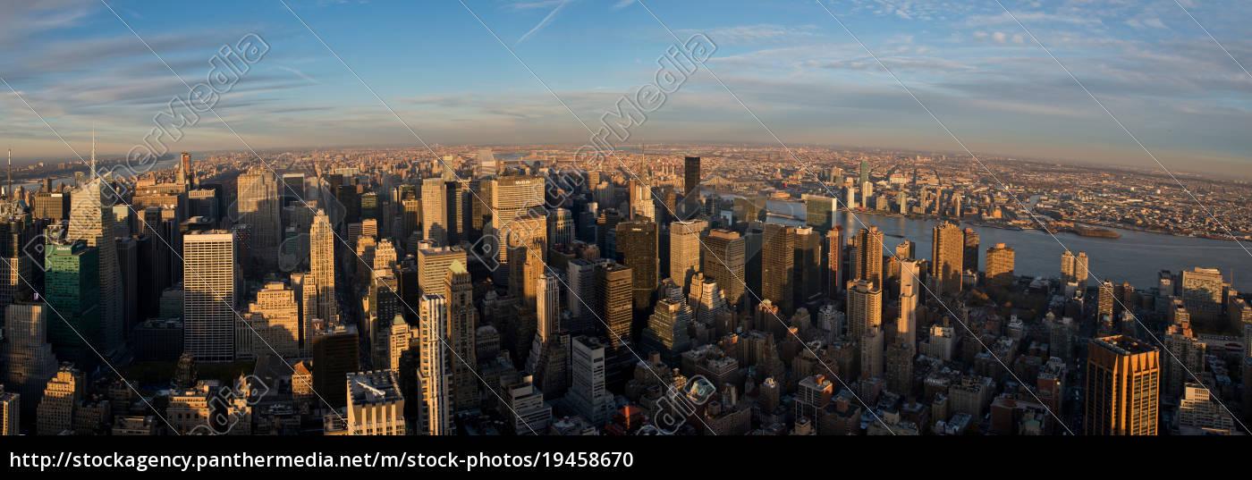 panoramiczny, widok, z, empire, state, building, manhattan, nowy - 19458670
