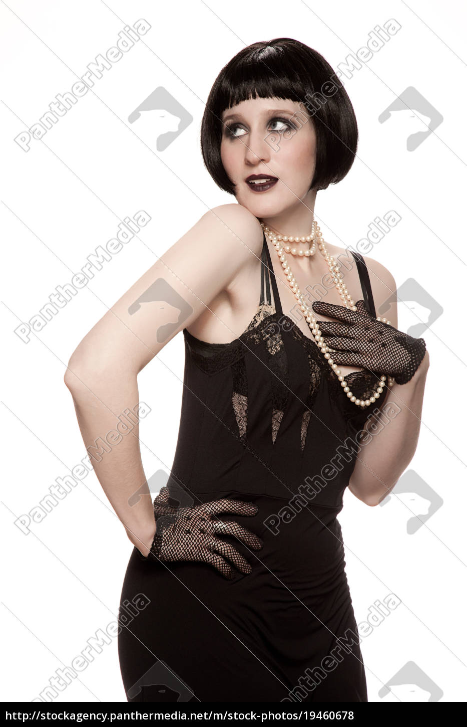mid, adult, woman, in, 1920's, style - 19460678
