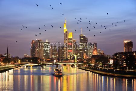 river main and frankfurt skyline at