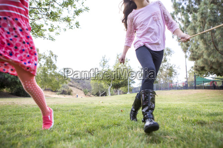 girls playing in park