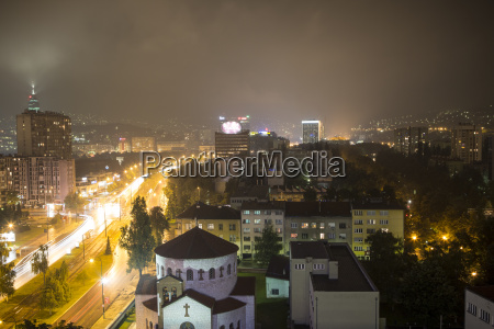 city skyline at night sarajevo bosnia
