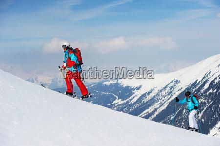 skiers moving upwards kuhtai austria