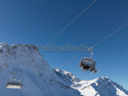 friends in ski lift blurred motion