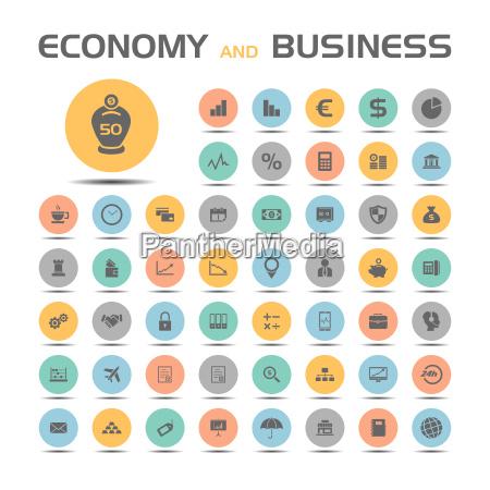 ikony gospodarki i biznesu na kolorowych