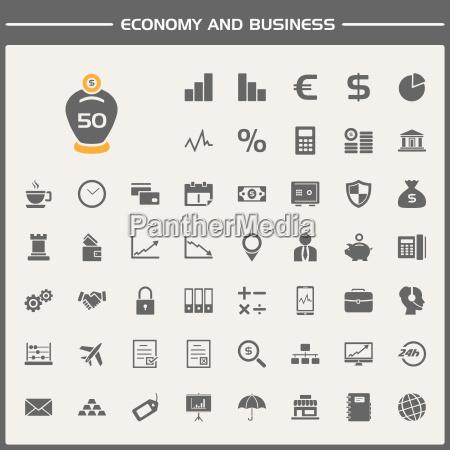 zestaw ikon ekonomicznych i biznesowych