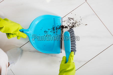 person, sweeping, floor, with, broom, and - 20119475