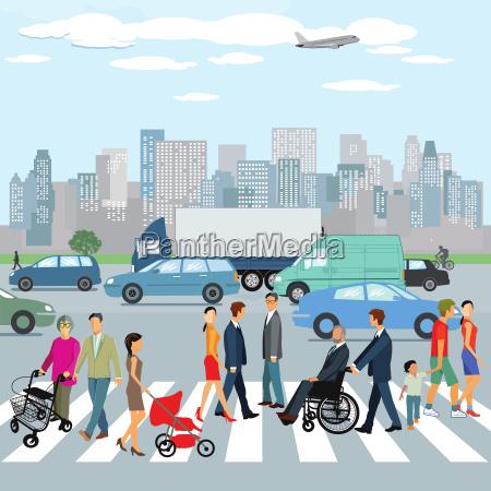 ludzie idacy na przejsciu dla pieszych
