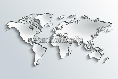 world map in peeling paper