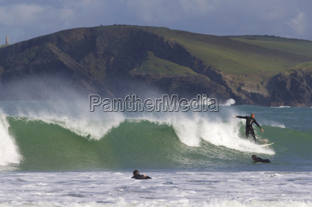 surfers harlyn bay cornwall england united