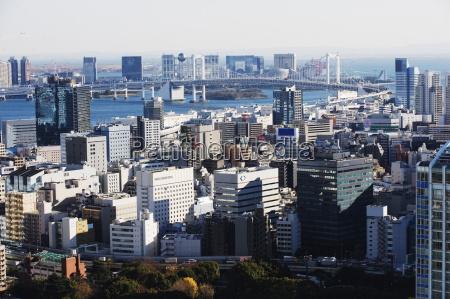 odaiba and tokyo bay skyline view