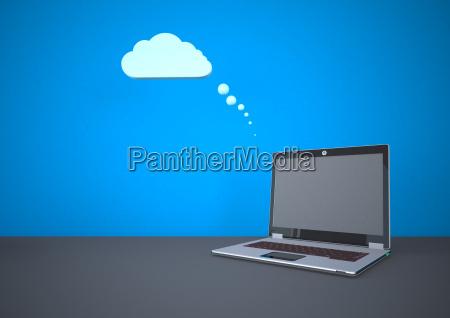 ilustracja chmurnieje obliczac z laptopem