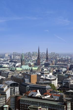 niemcy hamburg widok na panorame miasta