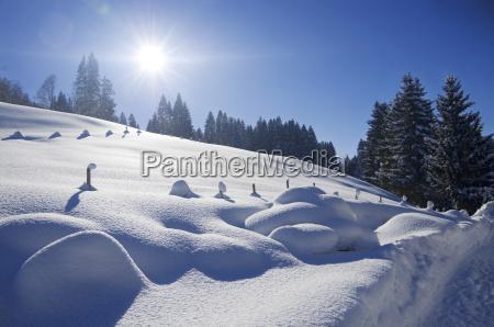 niemcy bawaria widok zimowy krajobraz valley