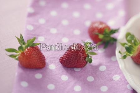 truskawki na rozowej tkaninie