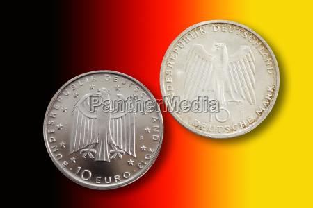 monety niemcy republika federalna ksztalt kola