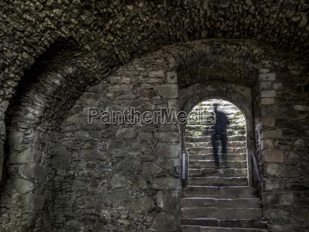 cien mezczyzny na schodach sklepienia zamkowego