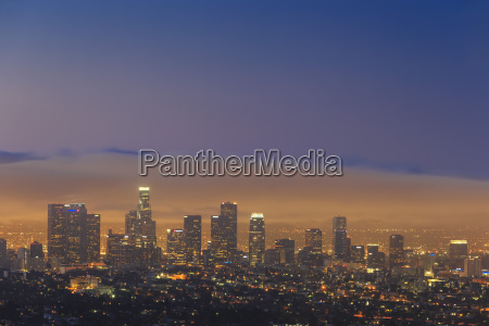 usa california los angeles skyline in