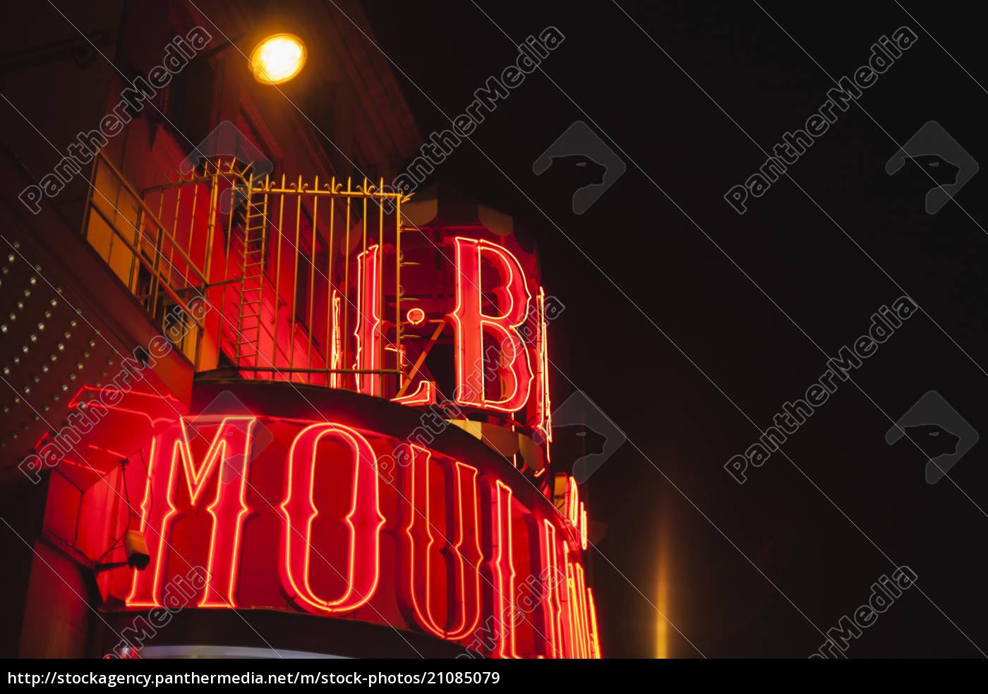 francja, paryż, lightes, moulin, rouge, nocą - 21085079
