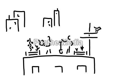 ogrodnictwo miejskie rysowanie linii czarno biale