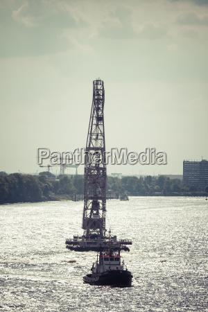 germany hamurg pontoon crane on river