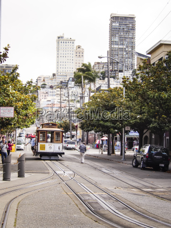 usa san francisco cable car at