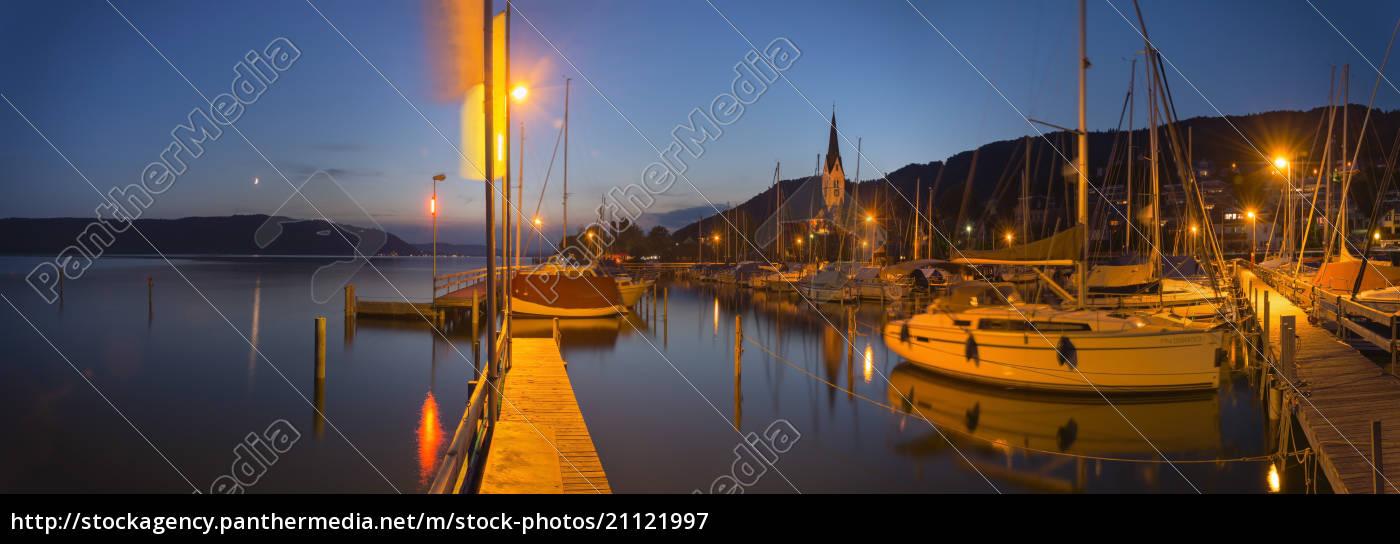 niemcy, badenia-wirtembergia, jezioro, bodeńskie, sipplingen, wieczór, w, przystani - 21121997