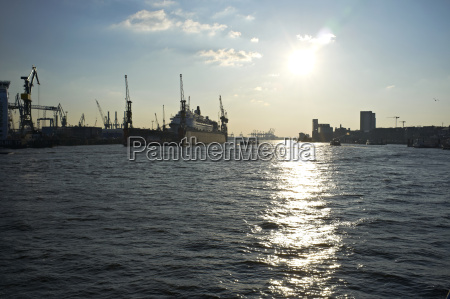 germany hamburg view of harbour at