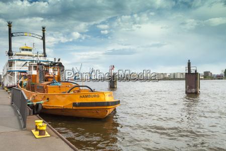 germany hamburg moored boats at shipping
