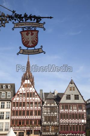 germany hesse frankfurt roemerberg sign wine