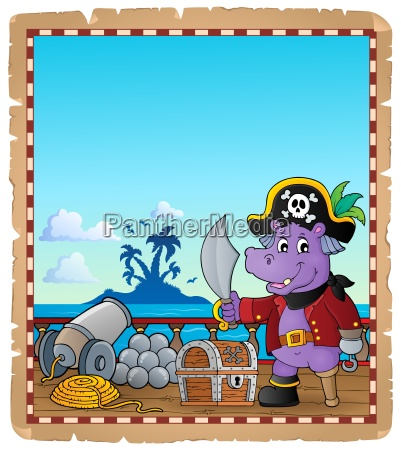parchment with pirate hippo on ship