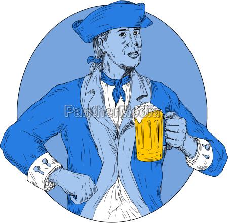 american patriot holding beer mug oval