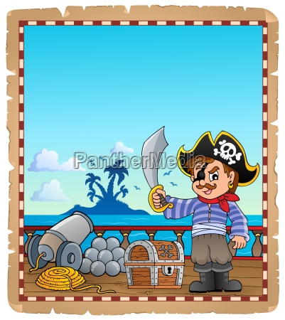 parchment with pirate boy on ship