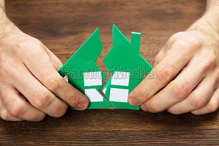 person holding green broken house