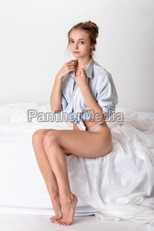 sexy woman in shirt and panties