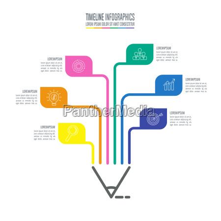 szablon infografiki edukacji 6 opcji krok