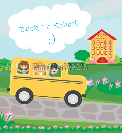 school bus heading to school with