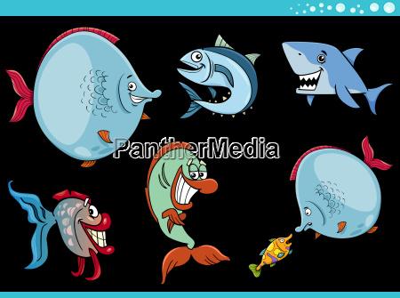 kolekcja znakow morskich ryb zycia