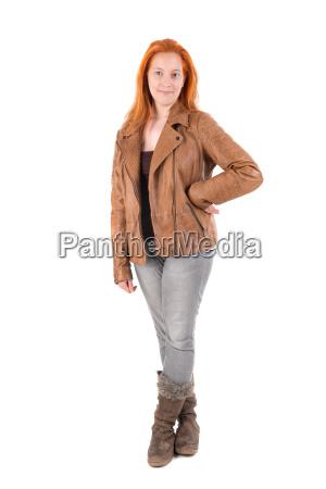 czerwona, dziewczyna, włosy - 22654471