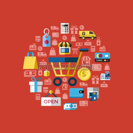 cyfrowy wektor zolty czerwony sprzedaz ikony