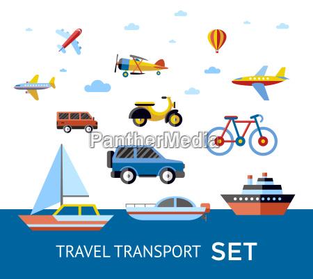 cyfrowy wektor niebieski czerwony transport ikony